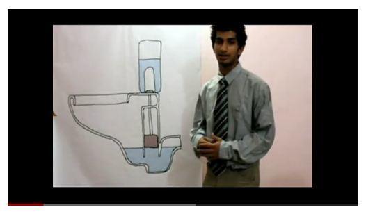 Rohit Fenn a apresentar um desenho do seu projeto Vacu-Flush
