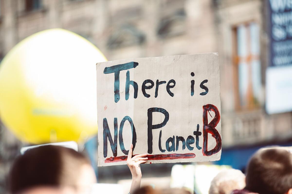 """Cartaz em manifestação com a frase """"There is no Planet B"""""""